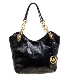 Micheal Kors Python Embossed Lilly Chain Tote
